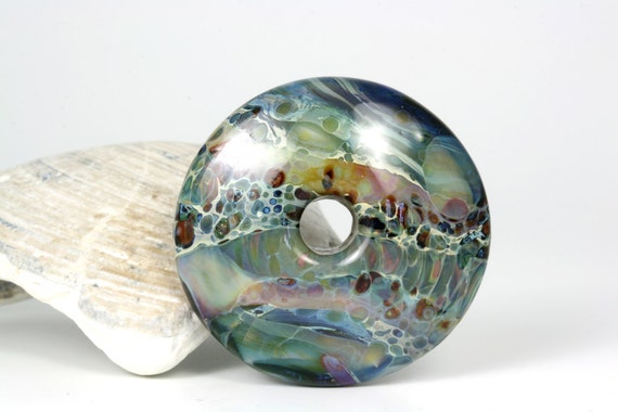 "Lampwork glass boro bead pendant focal by Lori Lochner ""Deep water blues"""