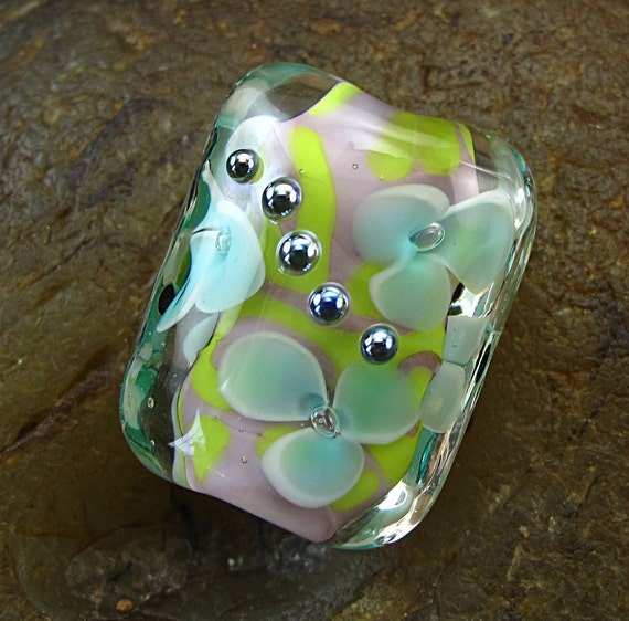 Handmade Lampwork Glass Floral Focal Bead -Bright Flower- by Andrea Pirkey SRA