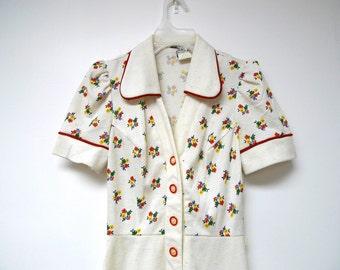 SUMMER BLOOM . 1960s dress. size 5 junior petite