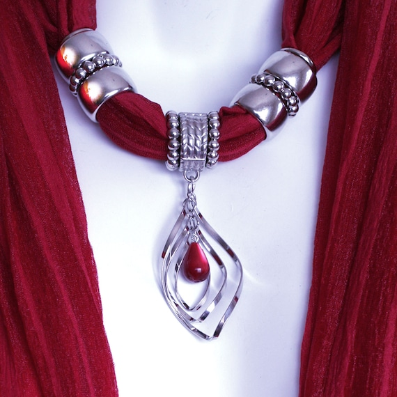 Scarves With Pendants Jewelry Scarves Colorful Scarves Deep Red Scarf M