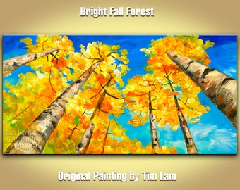 Original Tree art Landscape Painting Abstract Painting Acrylic Painting, Blue sky golden aspen Looking up fall forest by tim lam 48x24