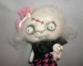 Little Zombie Girl  needle felted art doll