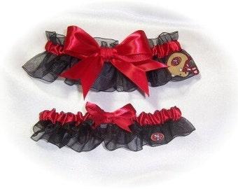 Handmade Wedding Garter Set with San Francisco 49ers Fabric Bridal Keepsake and Toss bss