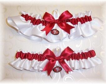 San Francisco 49ers Wedding Garter Set with San Francisco 49ers charms   Handmade  Keepsake and Toss   Satin W-SSW