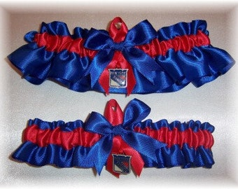 New York Rangers Wedding Garter Set with charms    Handmade   Keepsake and Toss   Satin RR