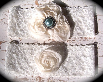 Ivory Lace and Pearl Garter Set 602