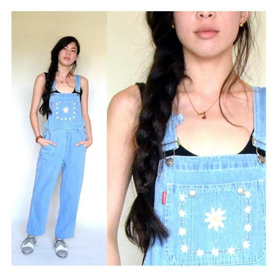 vintage 90s denim DAISY chain overalls xs s