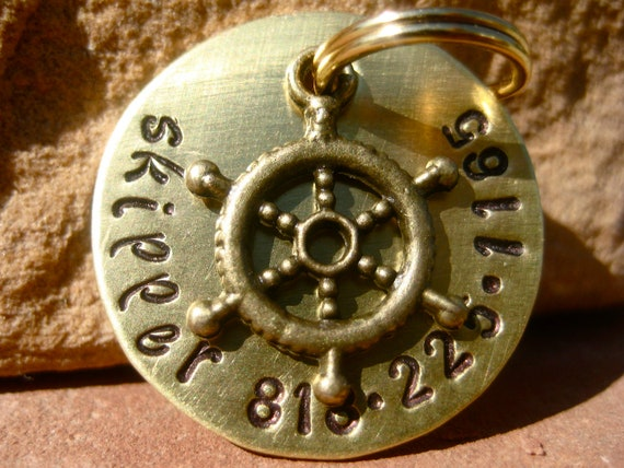The Skipper - Unique Handstamped Brass Nautical Helm Pet ID Tag Dog