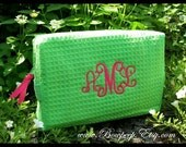 Elegant Script Monogrammed Cosmetic Bag - Personalized Waffle Weave bridesmaids lime green hot pink aqua blue bright beach wedding colors