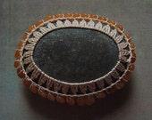 Art, Mixed Media, Original, Tribal, Handmade, Crochet Lace Stone, Gray Stone with Tangerine Adventurine Beads and Beige Thread