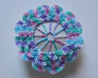 Teeny Tiny Flower, Crocheted, Lace, Fiber Art, Original, Handmade, Porcelain Stone, 3D, Blue, Pink