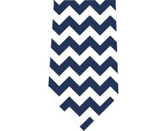 Men's Tie Navy Blue Chevron Necktie
