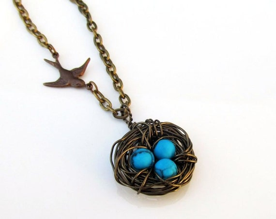 Bird's Nest Mother's Necklace, Brass nest with Howlite Eggs, Birthstone Necklace, Custom Necklace