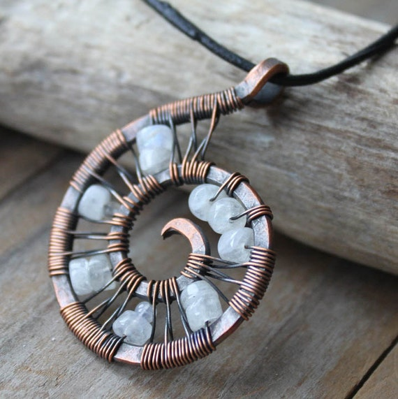 Rainbow Moonstone Spiral - Copper Necklace