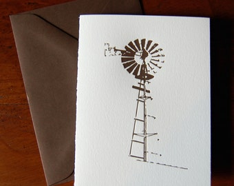 Windmill (Texas Hill Country), single letterpress card