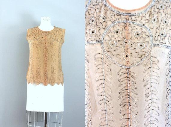 antique 1910s 1920s edwardian flapper salmon pink beaded blouse -M