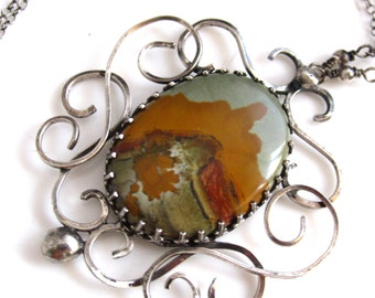 Desert Scape and Smoke Necklace - Jasper and Silver