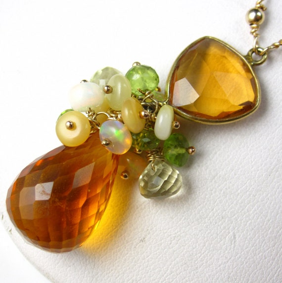 CItrine Dream Necklace - Citrine, Peridot, and Opal Gold Necklace