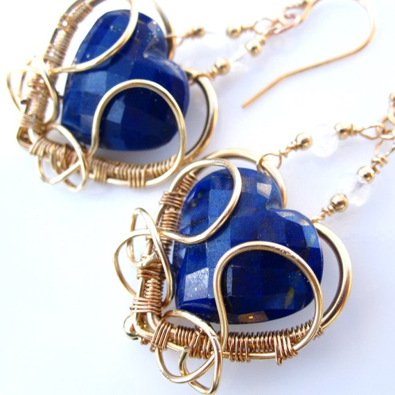 Blue Valentine Earrings - gold filled and lapis lazuli hearts