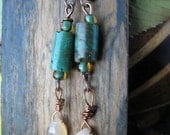 Turquoise and Moonstone Earrings