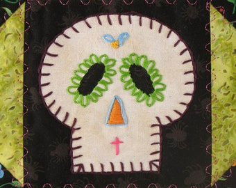 Sugar Skull Quilt, Green and Pink