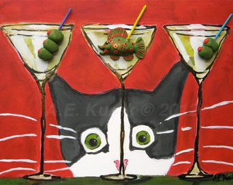 Cat Art Print -  Gray and White Tuxedo Cat with Martini and Fish -  Cat Print - Silent Mylo Tuxedo Cat - 8 x 10 Print - Gift for Cat Lover