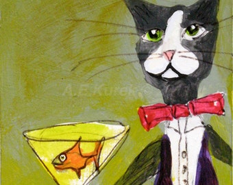 Funny Cat Art - Tuxedo Cat Bartender Print  - Silent Mylo Tuxedo Cat -  5 x 7 Print in 8 x 10 Mat - Bar Art - Gift for Cat Lover