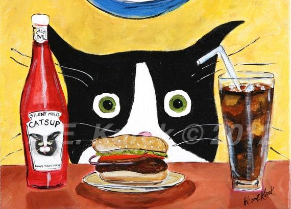 Silent Mylo Tuxedo Cat with Hamburger - Cat Art Print -  Tuxedo Cat Artwork - Funny Tuxedo Cat Wall Art -  Cat Gift  - Gift for Cat Lover
