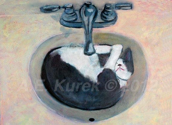 Cat Art - Cat Print - Cat Taking a Nap - Tuxedo Cat Art  - 5x7 PRINT - Bathroom Decor