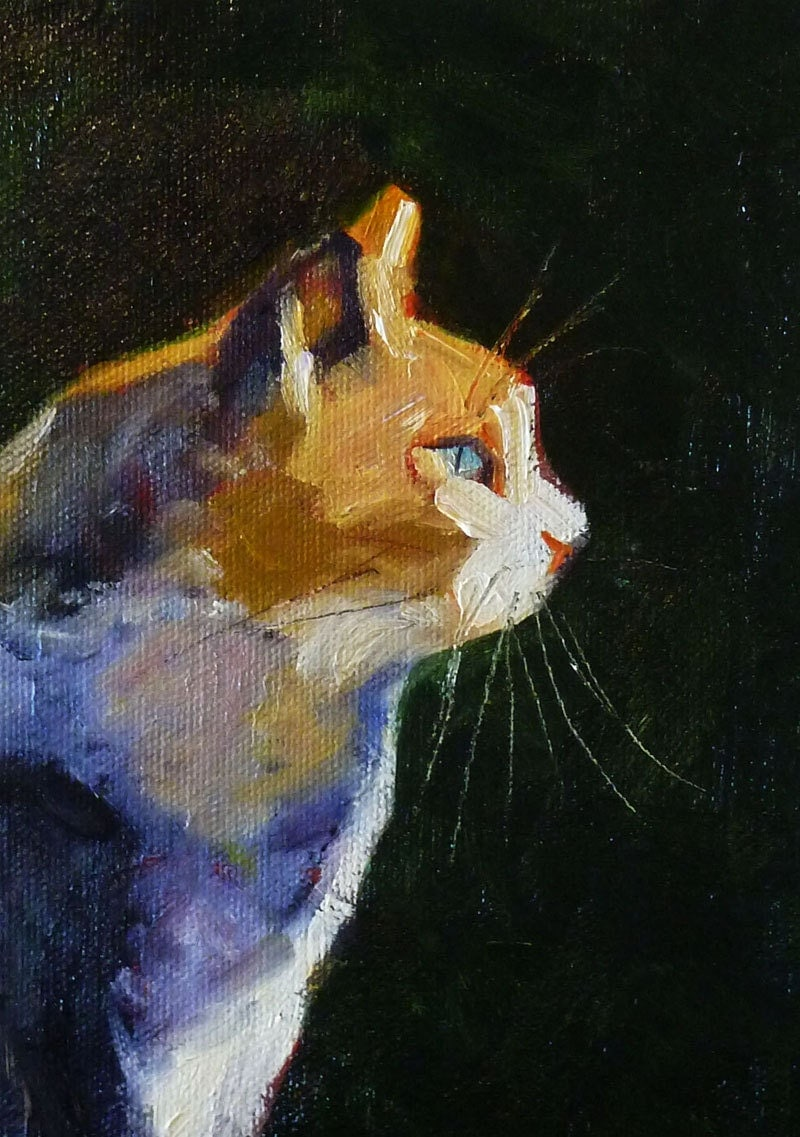 Cat Portrait Oil Painting Original Kitten Wall Decor Feline