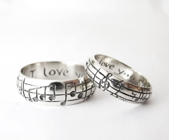 Your Song Wedding Bands - High End Nerd Wedding Rings - Geek Chic ...