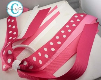 Hair Bow with Pink polka ribbons ponytail holder streamer