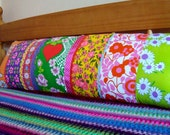 Long  Vintage Patchwork Pillow / Cushion Cover - Extra long bolster style oblong - Super Bright Hearts and Vintage Florals