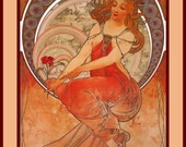 PR-264 Artistic Ephemera 8 x 10 Print - Alphonse Mucha - Art Nouveau 'Painting' - Also Available as Small Prints and Postcards