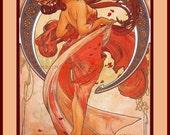 PR-262 Artistic Ephemera 8 x 10 Print - Alphonse Mucha - Art Nouveau 'Dance' - Also Available as Small Prints and Postcards