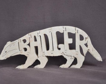 Badger Animal Wooden Puzzle Toy  Hand  Cut  with Scroll Saw