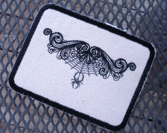 Swirly Spider Web Embroidered Iron on Patch