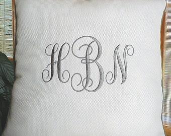 White Monogram Pillow, Monogrammed Throw Pillow, Personalized Wedding Gift, Monogrammed Decorative Pillow, Custom  Throw Pillow
