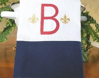 Monogrammed Kitchen Towel, Navy with Fleur de lis Monogrammed Towel