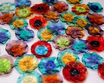 Glass Lampwork Beads Orphan Clearance (35) - Mermaid Glass Fairy Flowers, Blossoms and Ruffles Mxed batch