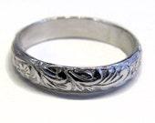 Wedding Ring Vine Pattern Sterling Silver