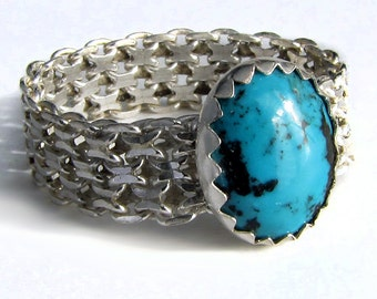 Silver Bismark Chain and Turquoise Ring size 9