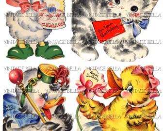 Vintage 1940s Duck Birthday Greeting Card Digital Download 212 - by Vintage Bella