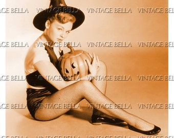 Vintage Halloween Pinup Witch Holding JOL Jack-o-lantern - Digital Download 295 - by Vintage Bella