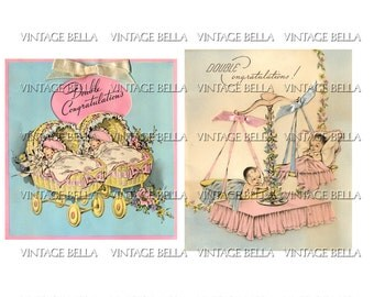 Vintage 1940s TWINS Baby Birth Birthday Greeting Card Digital Download 225 - by Vintage Bella