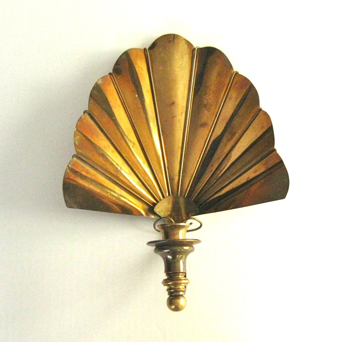 Vintage brass candle sconce hollywood regency wall by stephieD