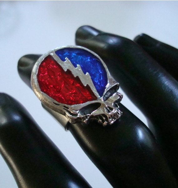 Grateful Dead Ring, Steal Your Face, Metal Bonded to a Sterling Silver Plate Solid Brass Jewelry Ring Base