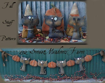 PDF Primitive Doll E PATTERN Cats, Pumpkins, Candy Corn, Garland, Ornies