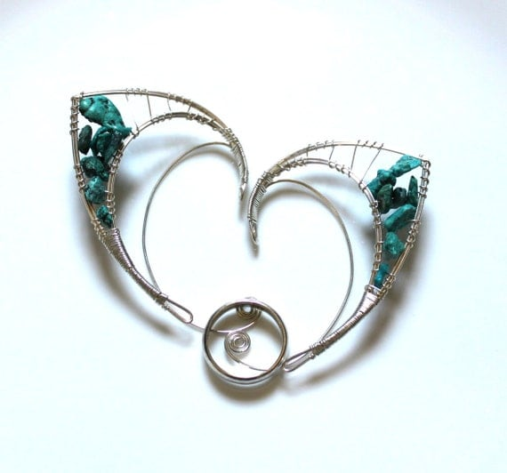 Silver elf ears with turquoise chips