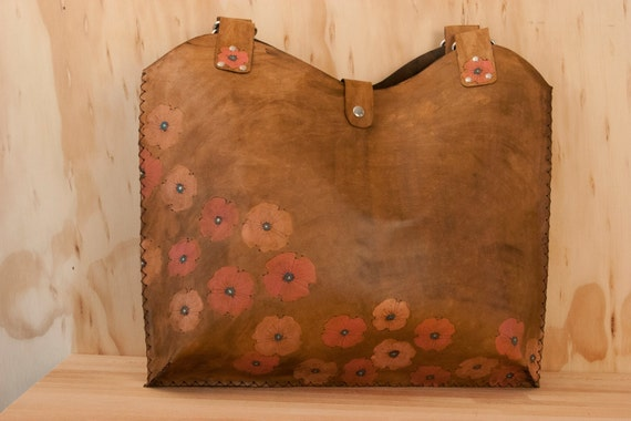Leather Tote - Poppy Garden pattern in Pink, Turquoise, yellow and antique brown